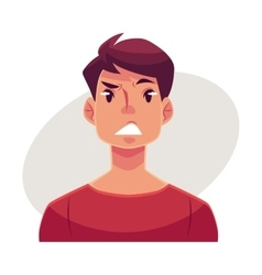 Young man face upset confused facial expression vector image