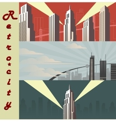 Cityscape horizontal Cartoon city in different vector image vector image