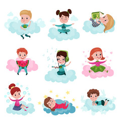 cute little kids playing and dreaming while vector image vector image