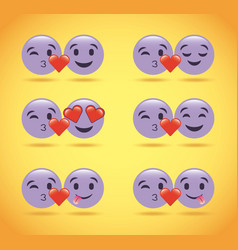set of purple smile emoticons love hearts cute vector image