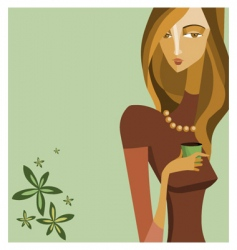 woman with coffee cup vector image