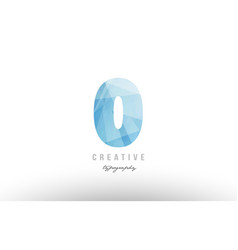 0 zero blue polygonal number logo icon design vector image