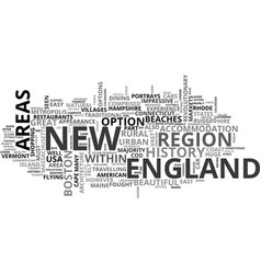 A tourist guide to new england text word cloud vector