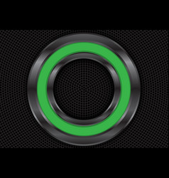 abstract green metal circle on black mesh vector image