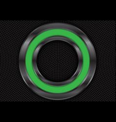 Abstract green metal circle on black mesh vector
