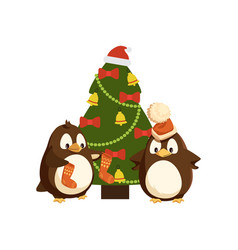 arctic penguins and christmas tree winter holiday vector image