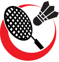 Badminton championship logo with racquet vector