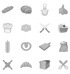 Bakery icons set black monochrome style vector