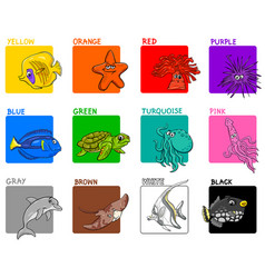 Basic colors educational set with sea animals vector