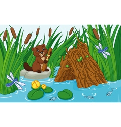 Beaver Lodge vector image