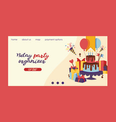 Birthday party anniversary landing page design vector