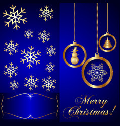 Blue Christmas Invitation Card vector image