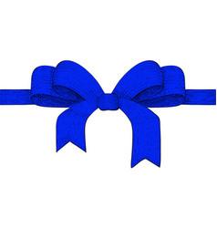 blue ribbon bow hand drawn sketch vector image
