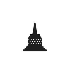 Borobudur temple stupa silhouette icon vector