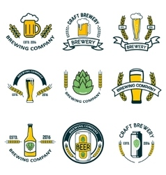 Brewery labels and design elements Beer mugs vector