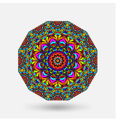 Bright color circular kaleidoscope pattern vector