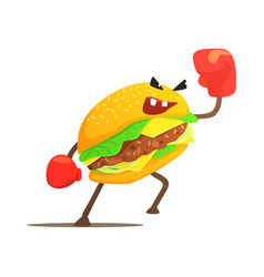Burger sandwich box fighter in gloves fast food vector