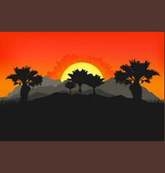 californian landscape with palms and sun sunset vector image