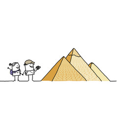 Cartoon couple with egyptian pyramids vector