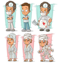Cartoon doctor and patient character set vector
