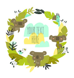 cartoon wreath with koalas and plants on white vector image