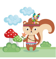 Chipmunk woodland animal with feather crown vector