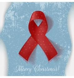 Christmas curved red Ribbon on the Ice and Snow vector image