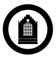 church building black icon in circle isolated vector image