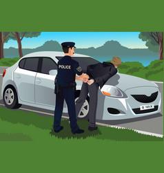 Cop handcuffs a law-breaker vector