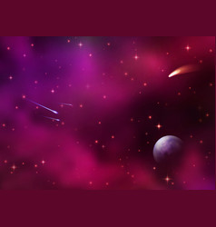 cosmic galaxy background with colorful nebula vector image