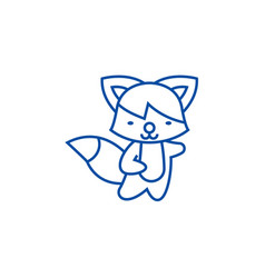 cute fox line icon concept cute fox flat vector image