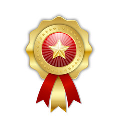 decorative golden top quality rosette with star vector image