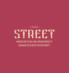 Decorative stencil-plate sans serif font vector