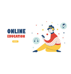 education course home landing page template vector image