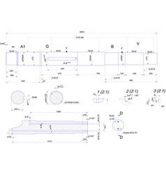 engineering drawing of steel shaft vector image