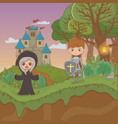Fairytale landscape scene with witch and warrior vector