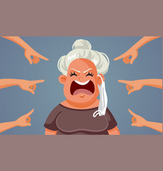 Fingers pointing woman refusing to wear a mask vector