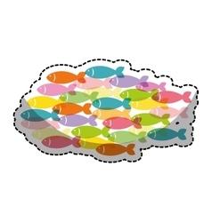 Fish shoal icon vector