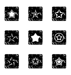 Five-pointed star icons set grunge style vector