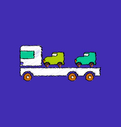 flat shading style icon car carrier truck deliver vector image