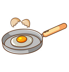 Frying pan with egg in it on white background vector