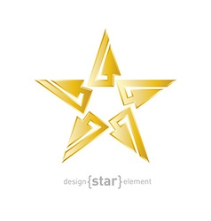 Gold abstract star with arrows design element vector