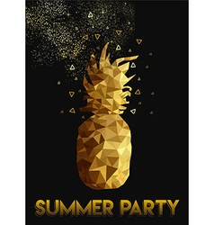 Gold low poly pineapple design for summer party vector