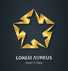 Gold star logo made lightnings award 3d icon vector