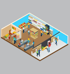 Grocery store isometric design concept vector