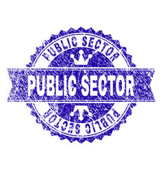 Grunge textured public sector stamp seal with vector