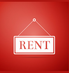 hanging sign with text rent icon on red background vector image