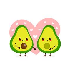 happy cute smiling avocado couple in love vector image
