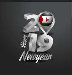 Happy new year 2019 grey typography with western vector