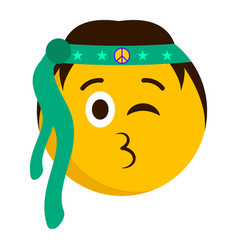 hippie emoji blowing a kiss vector image